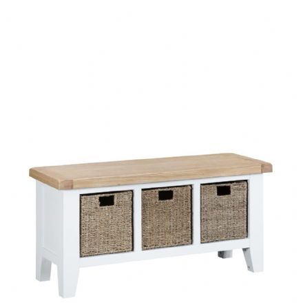Toulouse White Large Hall Bench